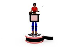 3d woman clapper roll concept Royalty Free Stock Photo