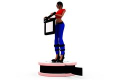 3d woman clapper roll concept Stock Photography