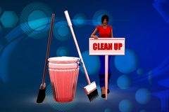 3D woman clean up illustration Stock Image