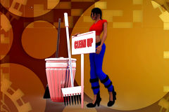 3D woman clean up illustration Stock Images