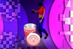 3D woman cleaning illustration Stock Photo