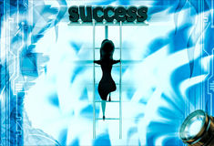 3d woman climb ladder of success illustration Stock Images