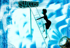 3d woman climb ladder of success illustration Royalty Free Stock Image