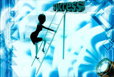3d woman climb ladder of success illustration Stock Photo