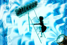 3d woman climb ladder of success illustration Royalty Free Stock Photos