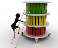 3d woman climb ladder to top files concept Stock Photography