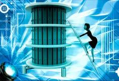 3d woman climb ladder to top files illustration Stock Photos
