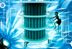 3d woman climb ladder to top files illustration Royalty Free Stock Photography