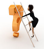 3d woman climb question mark with ladder concept Royalty Free Stock Photo
