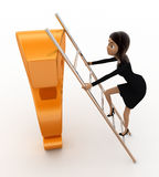 3d woman climb question mark with ladder concept Stock Photo