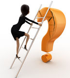 3d woman climb question mark with ladder concept Stock Photos
