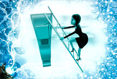 3d woman climb question mark with ladder illustration Royalty Free Stock Photos