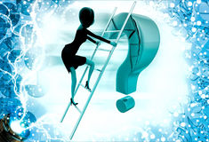 3d woman climb question mark with ladder illustration Stock Photography