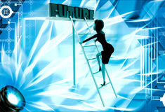 3d woman climb up ladder to future illustration Royalty Free Stock Photo