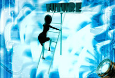 3d woman climb up ladder to future illustration Stock Photos