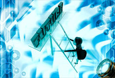 3d woman climb up ladder to future illustration Stock Photography