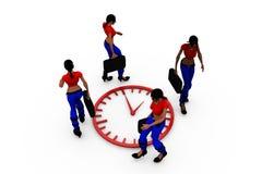 3d woman clock circle concept Stock Photos