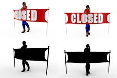 3d woman closed Concept Collections With Alpha And Shadow Channel Stock Photography