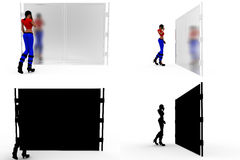 3d woman with closed door Concept Collections With Alpha And Shadow Channel Stock Image
