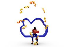 3d woman cloud money concept Royalty Free Stock Photography