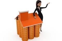 3d woman coin home concept Stock Photography