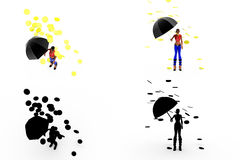 3d woman coin rain concept Collections With Alpha And Shadow Channel Stock Images