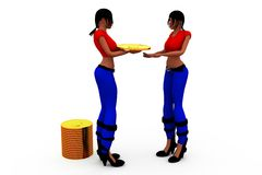3d woman coin transfer concept Stock Photography