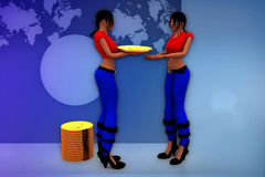 3d woman coin transfer illustration Royalty Free Stock Photography