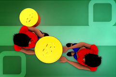 3d woman coin transfer illustration Stock Photography