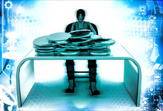 3d woman coins on table illustration Stock Photo