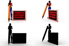 3d woman comments concept collections with alpha and shadow channel Royalty Free Stock Images