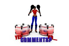 3d woman comments concept Royalty Free Stock Photo