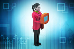 3d woman with communication sign. In color background Royalty Free Stock Image