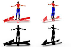 3d woman compliance violation concept Collections With Alpha And Shadow Channel Royalty Free Stock Photos