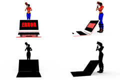 3d woman computer error concept Collections With Alpha And Shadow Channel Stock Image