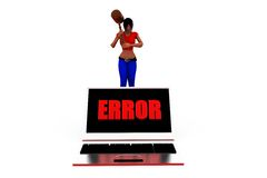 3d woman computer error concept Royalty Free Stock Images