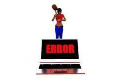 3d woman computer error concept Royalty Free Stock Photography