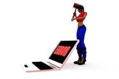 3d woman computer error concept Royalty Free Stock Photos