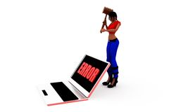 3d woman computer error concept Stock Photo
