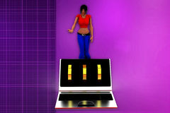 3d woman computer password  illustration Royalty Free Stock Image