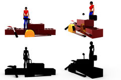 3d woman conctruction tool concept Collections With Alpha And Shadow Channel Royalty Free Stock Photo