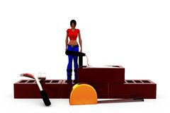 3d woman conctruction tool concept Royalty Free Stock Image