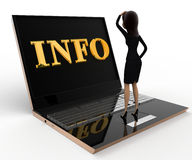 3d woman confused with info on laptop concept Royalty Free Stock Image