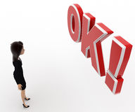 3d woman confused looking and standing in front OK text with exclamation mark concept Stock Image