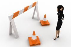 3d woman confused and looking at stop barrier and traffic cones concept Royalty Free Stock Photo