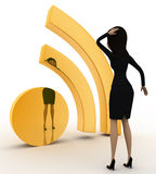3d woman confused and looking at wifi icon concept Stock Photos