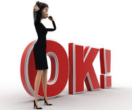 3d woman confused  and standing in front OK text with exclamation mark concept Stock Photos