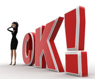 3d woman confused  and standing in front OK text with exclamation mark concept Royalty Free Stock Photo