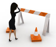 3d woman confused and in tension while looking at traffic barrier and cone concept Royalty Free Stock Photo