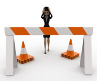 3d woman confused and in tension while looking at traffic barrier and cone concept Stock Photos